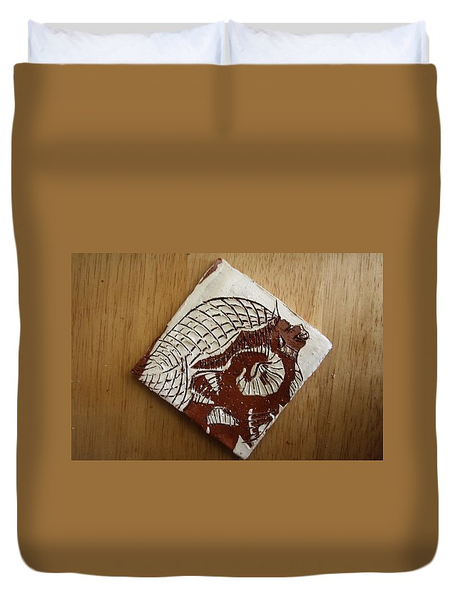 Jesus Duvet Cover featuring the ceramic art Sentinel - Tile by Gloria Ssali