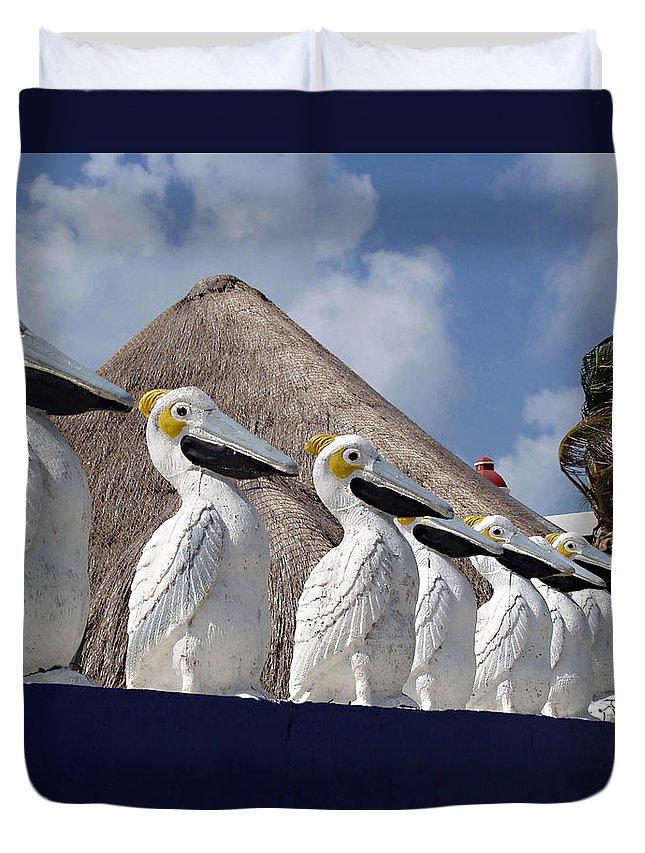 Sentry Pelicans Duvet Cover featuring the photograph Sentry Pelicans by Ellen Henneke