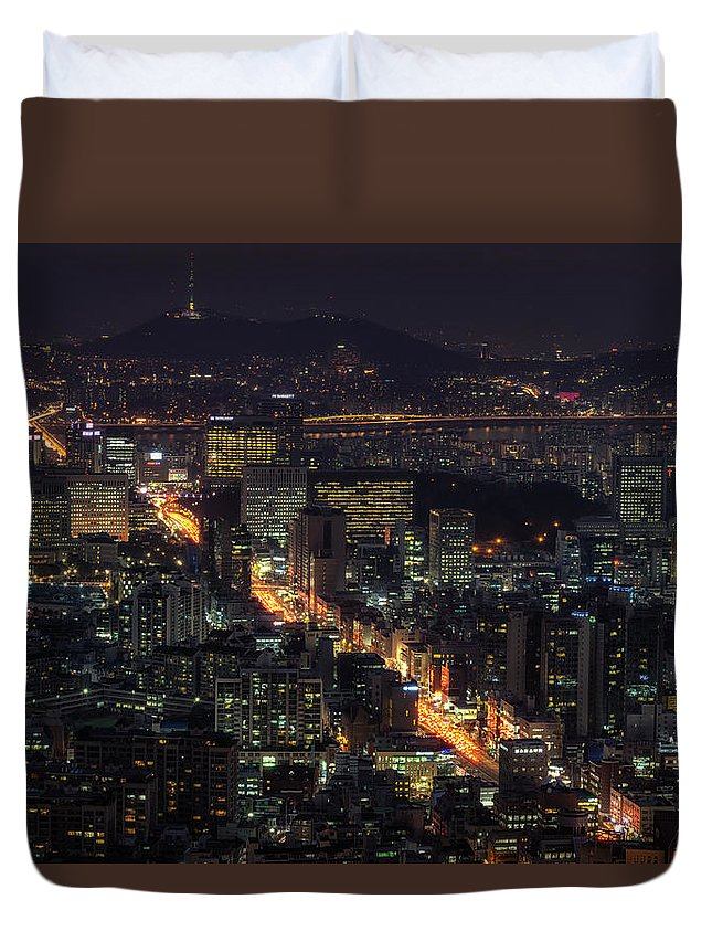 Architectural Detail Duvet Cover featuring the photograph Seoul Flows by Aaron Choi