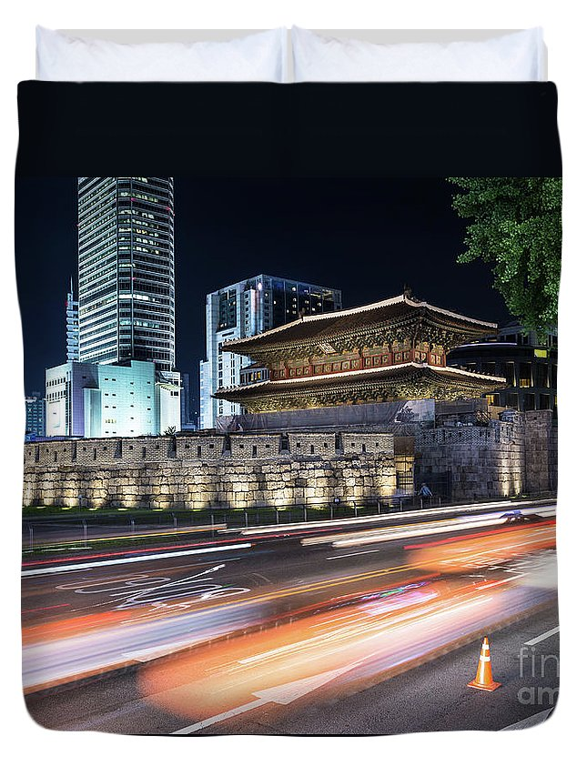 Capital Cities Duvet Cover featuring the photograph Seoul Night Traffic Around Dongdaemun Gate by Didier Marti