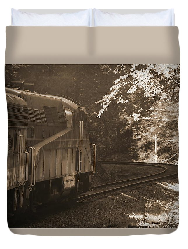 Cheat Mountain Duvet Cover featuring the photograph Sepia Cheat Mountain Salamander 2 by Cathy Lindsey