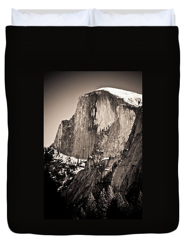 Yosemite Duvet Cover featuring the photograph Sepia Half Dome by Scott Sawyer