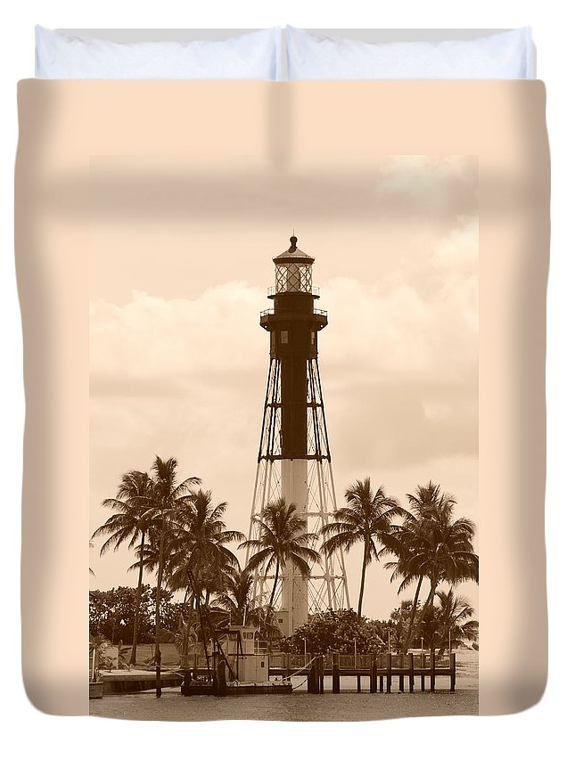 Sepia Duvet Cover featuring the photograph Sepia Light House by Rob Hans