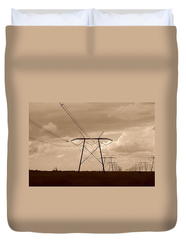 Sepia Duvet Cover featuring the photograph Sepia Power by Rob Hans