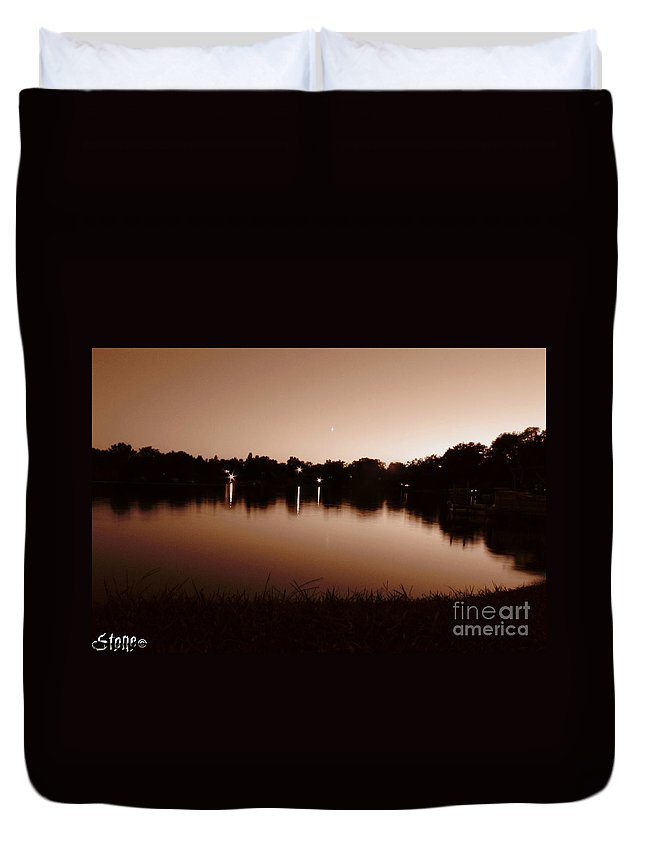 Sunset Duvet Cover featuring the photograph Sepia Sunset by September Stone