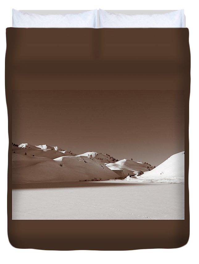 Ancient Duvet Cover featuring the photograph Sepia-toned Mountain Landscape by Stefania Levi
