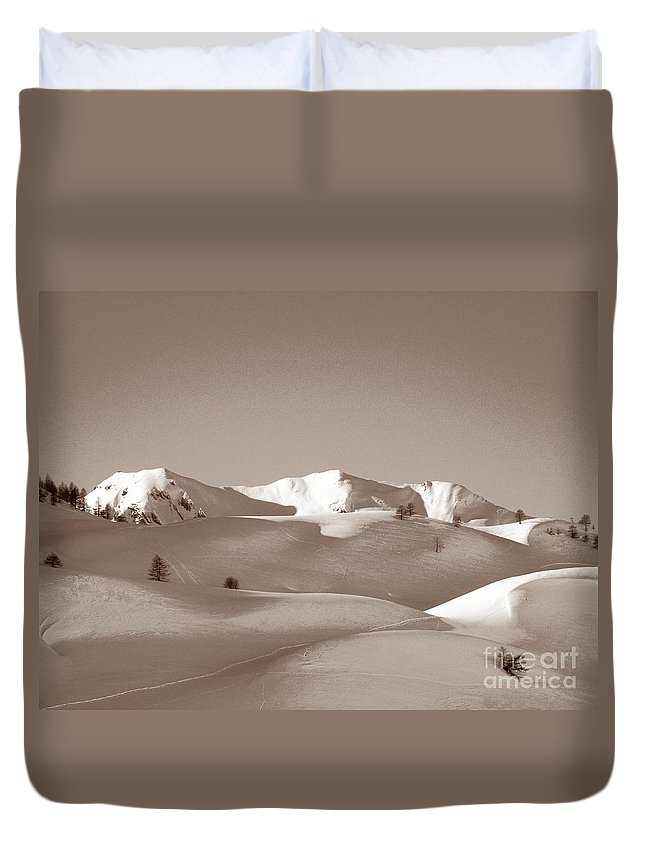 Antique Duvet Cover featuring the photograph Sepia Toned Snowy Mountain by Stefania Levi