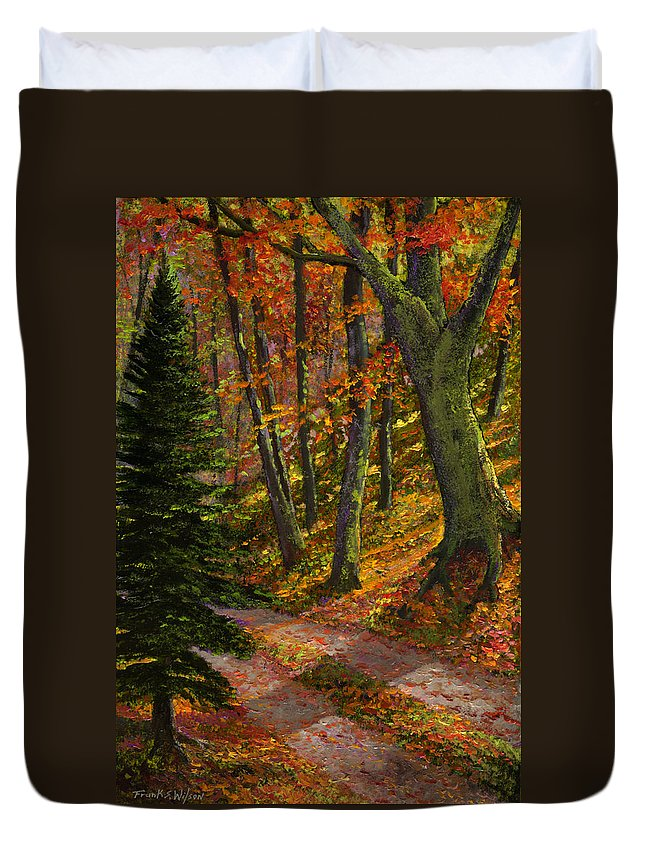 Road In The Woods Duvet Cover featuring the painting September Road by Frank Wilson