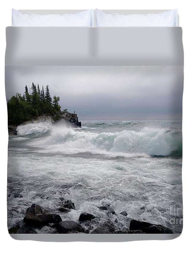 Lake Superior Duvet Cover featuring the photograph September Storm #2 by Sandra Updyke