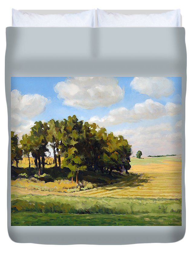 Landscape Duvet Cover featuring the painting September Summer by Bruce Morrison