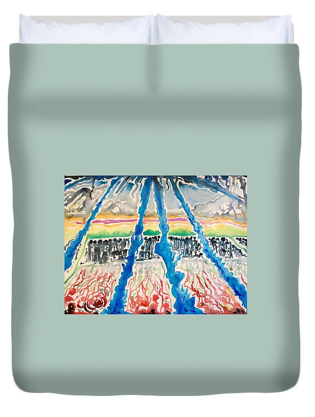 Duvet Cover featuring the painting Sequential Development Of The Refugees by Michael Richardson