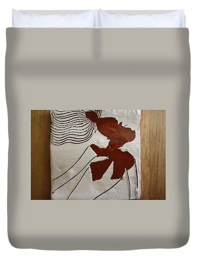 Jesus Duvet Cover featuring the ceramic art Serena - Tile by Gloria Ssali