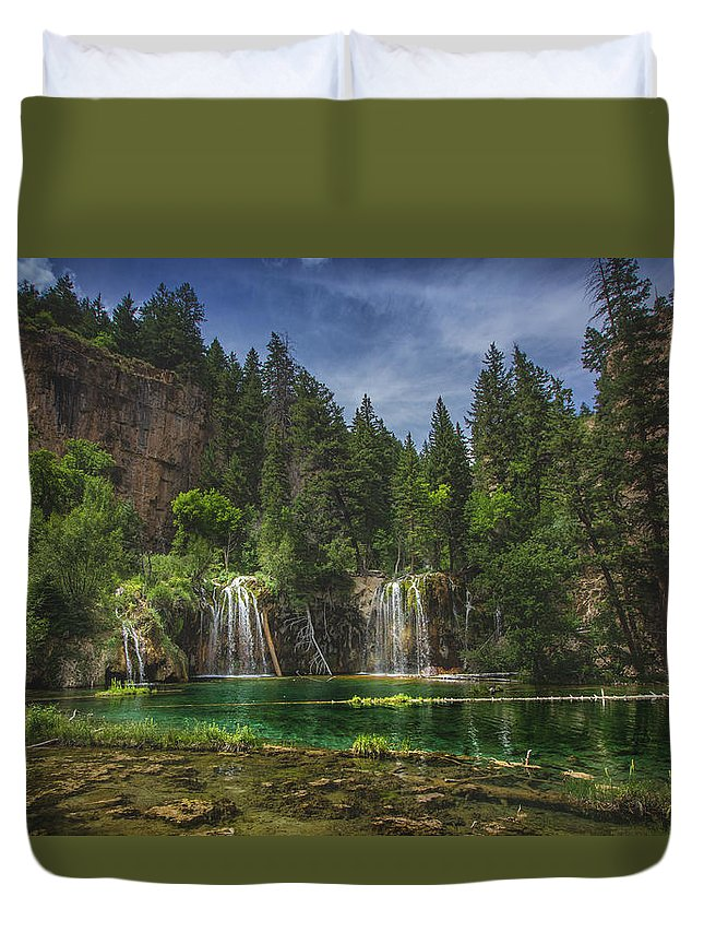 Beauty In Nature Duvet Cover featuring the photograph Serene Hanging Lake Waterfalls by Focqus