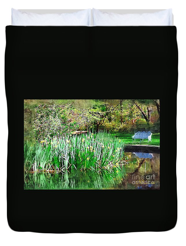 Park Duvet Cover featuring the photograph Serene Iris by Donna Bentley