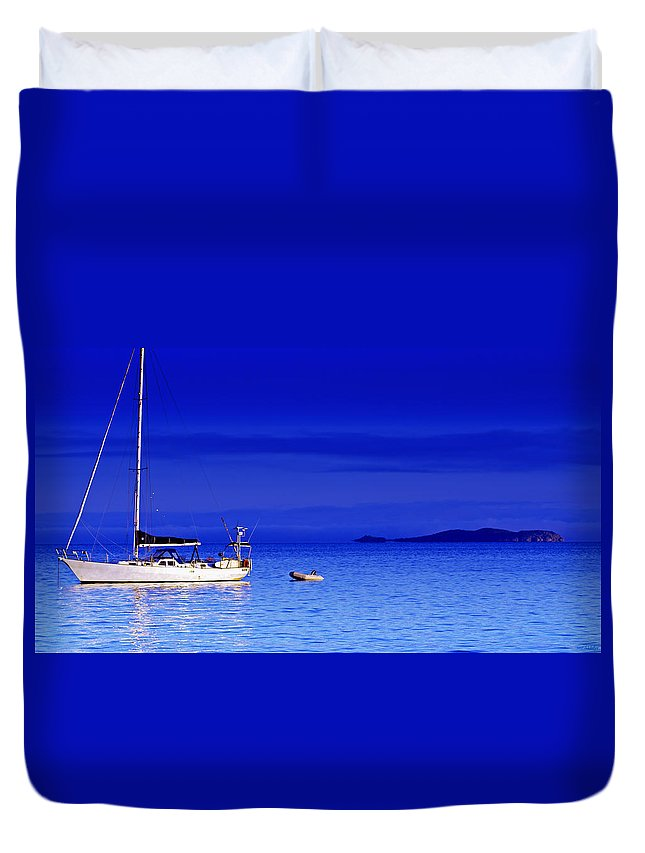 Transportation. Boats Duvet Cover featuring the photograph Serene Seas by Holly Kempe
