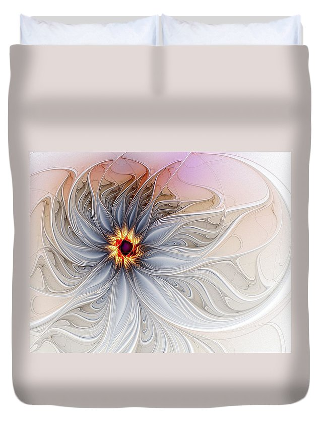 Digital Art Duvet Cover featuring the digital art Serenely Blue by Amanda Moore