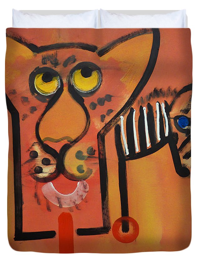 Big Cat Duvet Cover featuring the painting Serengeti Cat by Charles Stuart