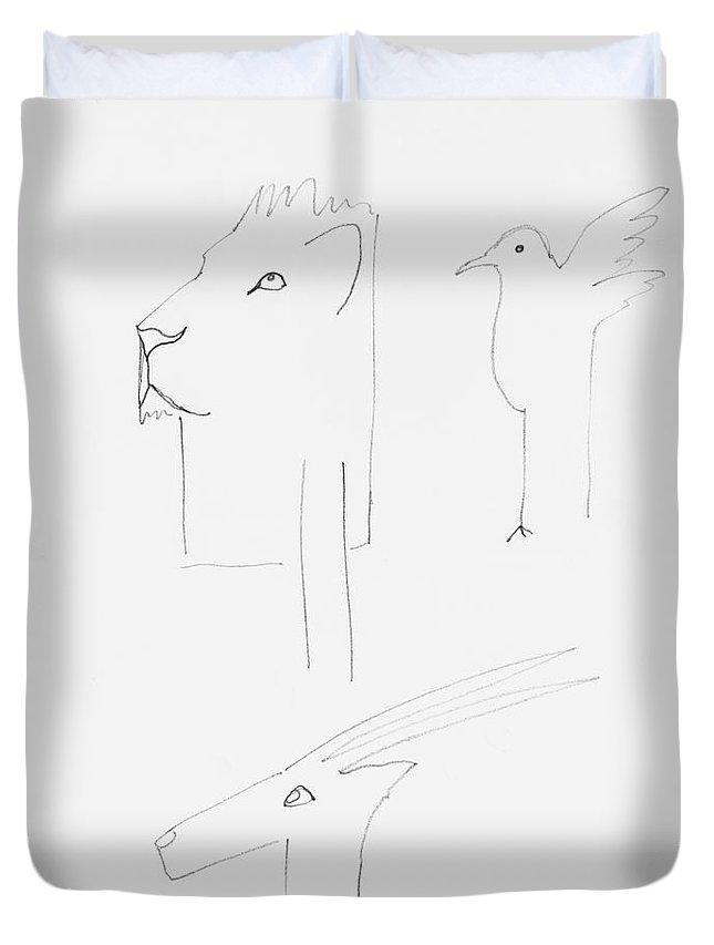 Serengeti Cat Duvet Cover featuring the painting Serengeti Drawing by Charles Stuart