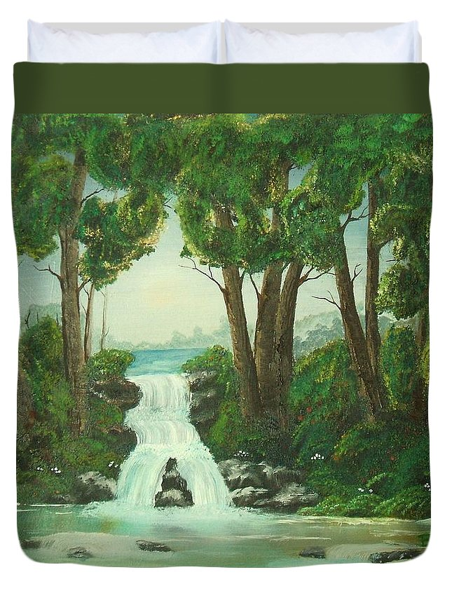 Waterfall Duvet Cover featuring the painting Serenity by Brandy House