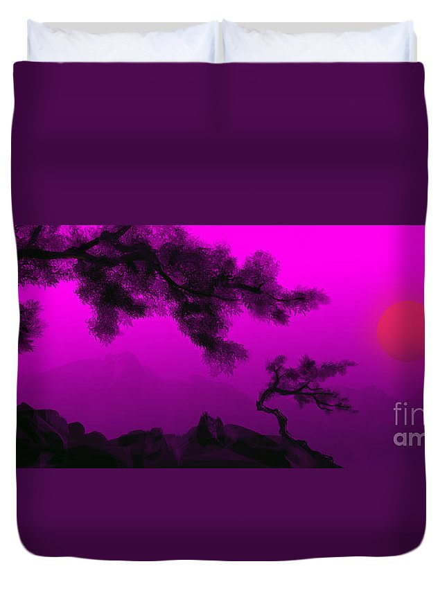 Japanese; Sunset; Mountains; Trees; Rising; Sun; Contemporary; Purple; Pink;sunrise; Sunset Duvet Cover featuring the painting Serenity by James Christopher Hill