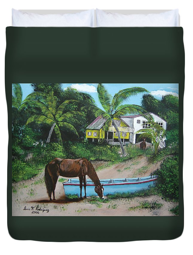 Aguadilla Duvet Cover featuring the painting Serenity by Luis F Rodriguez