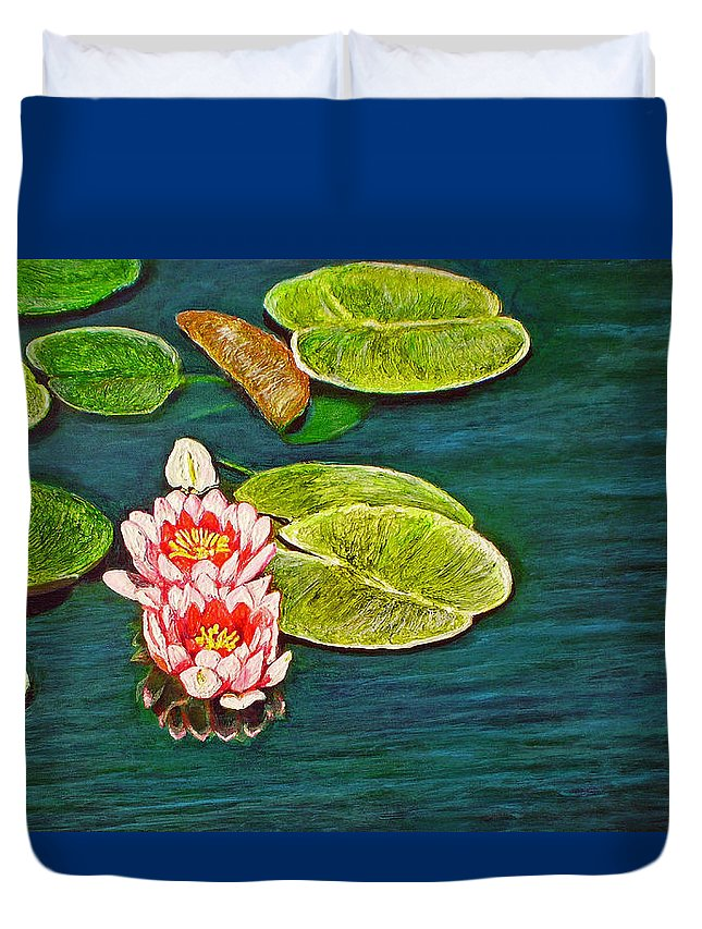 Water Lily Duvet Cover featuring the painting Serenity by Michael Durst