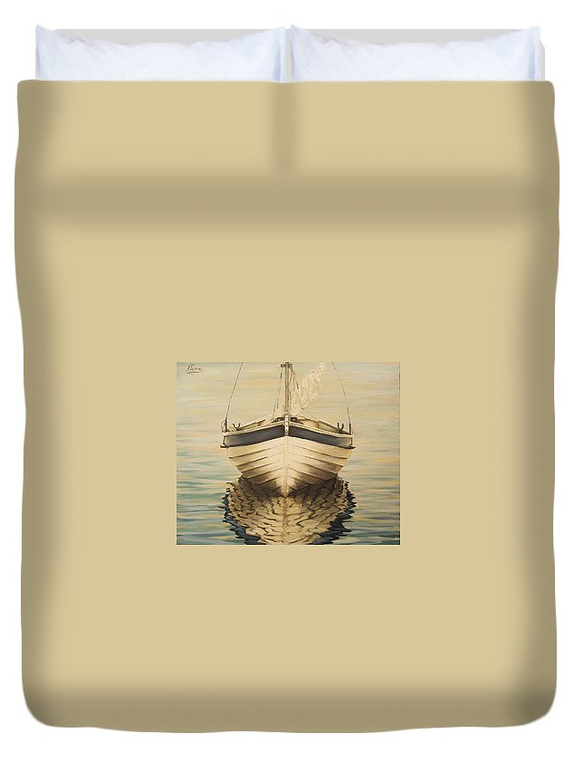 Seascape Duvet Cover featuring the painting Serenity by Natalia Tejera