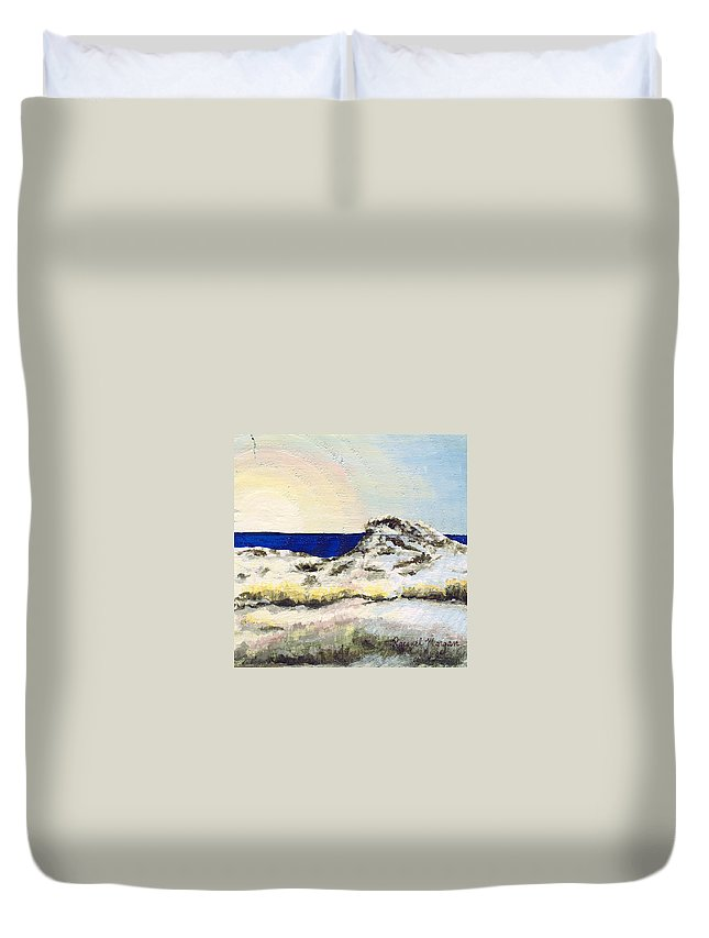 Beach Sunset Duvet Cover featuring the painting Serenity by Racquel Morgan