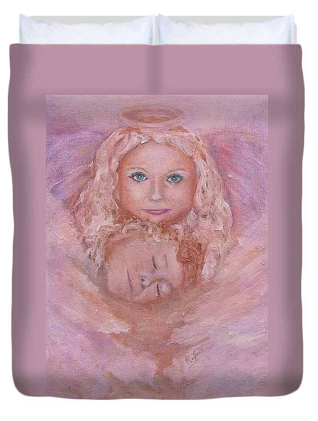 Angels Duvet Cover featuring the painting Serenity by Regina Brandt