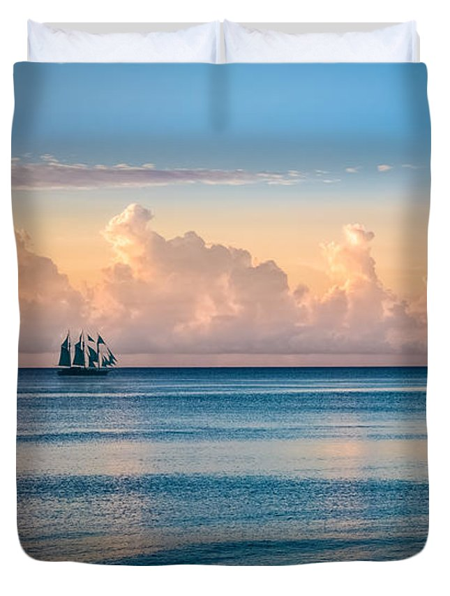 Boats Duvet Cover featuring the photograph Serenity Sailing by Debra and Dave Vanderlaan