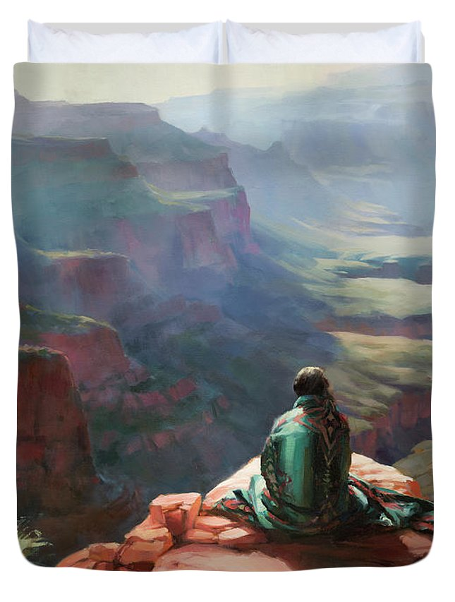 Southwest Duvet Cover featuring the painting Serenity by Steve Henderson