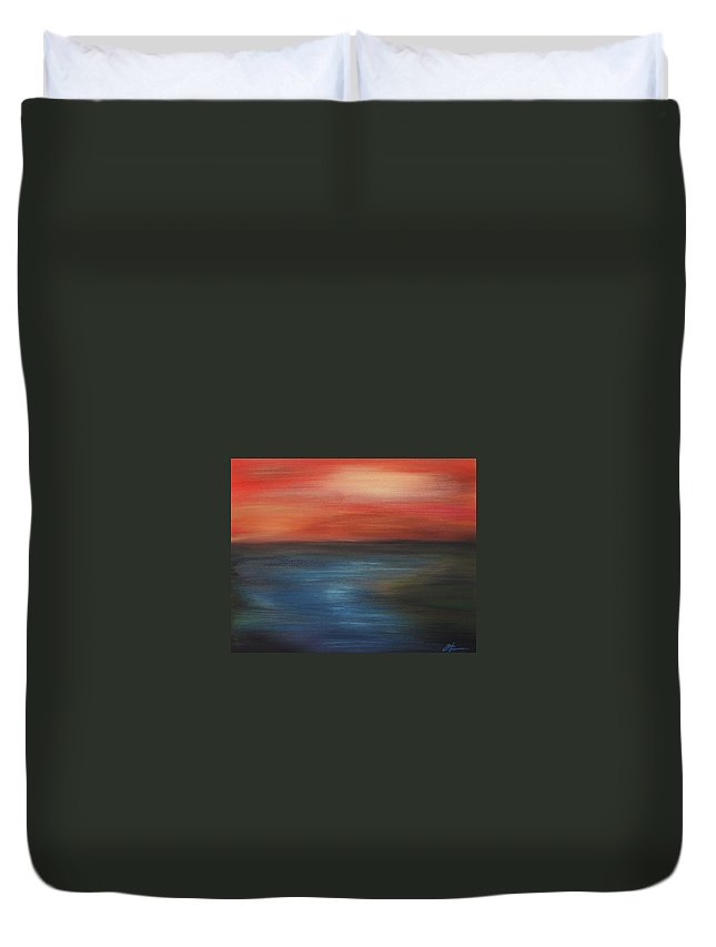 Scenic Duvet Cover featuring the painting Serenity by Todd Hoover