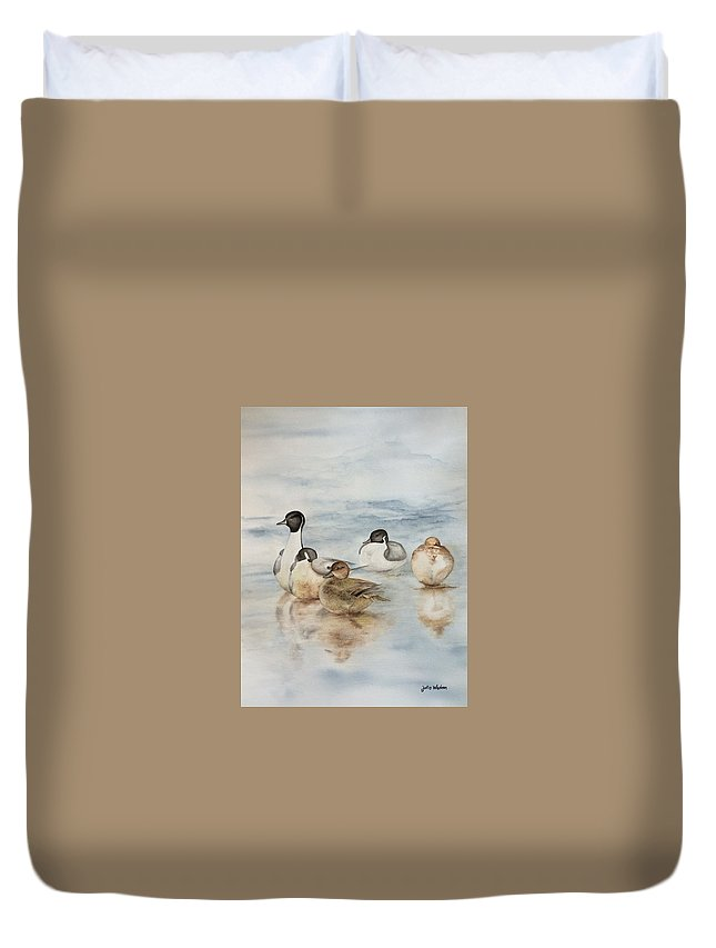 Ducks Duvet Cover featuring the painting Serenity by Julie Wedean