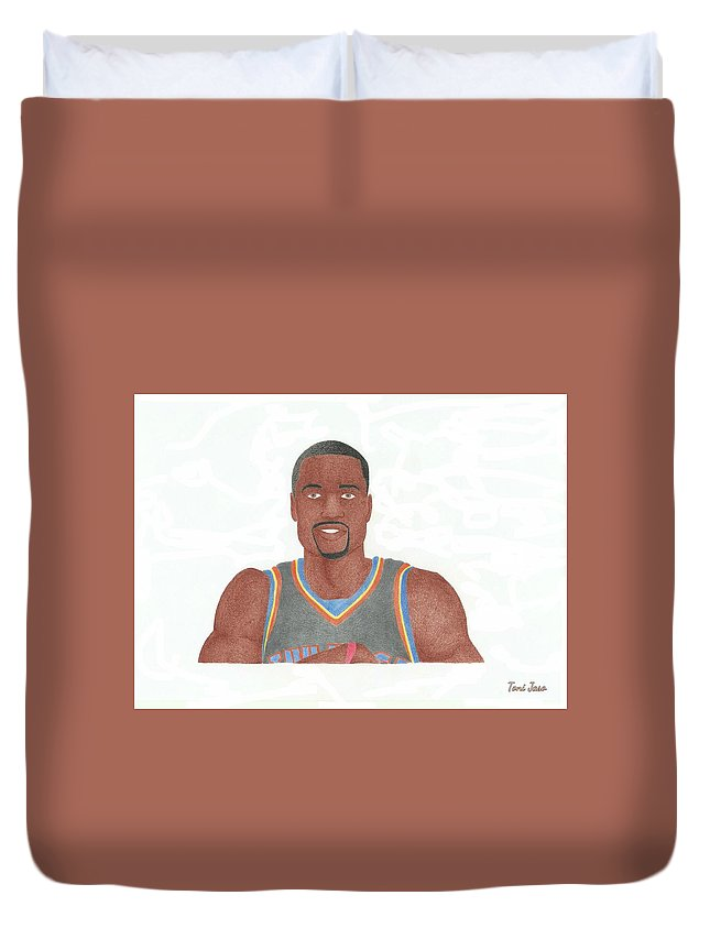 Basketball Duvet Cover featuring the drawing Serge Ibaka by Toni Jaso