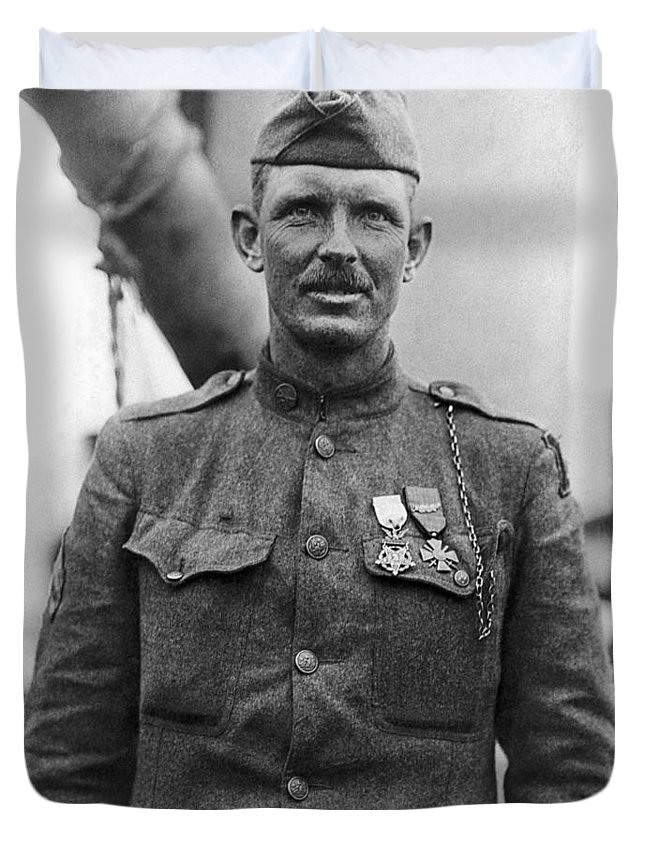 Alvin York Duvet Cover featuring the photograph Sergeant York - World War I Portrait by War Is Hell Store