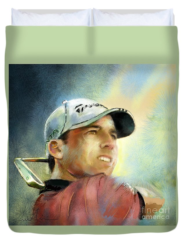 Golf Painting Golfart Castello Masters Spian Sport Duvet Cover featuring the painting Sergio Garcia In The Castello Masters by Miki De Goodaboom