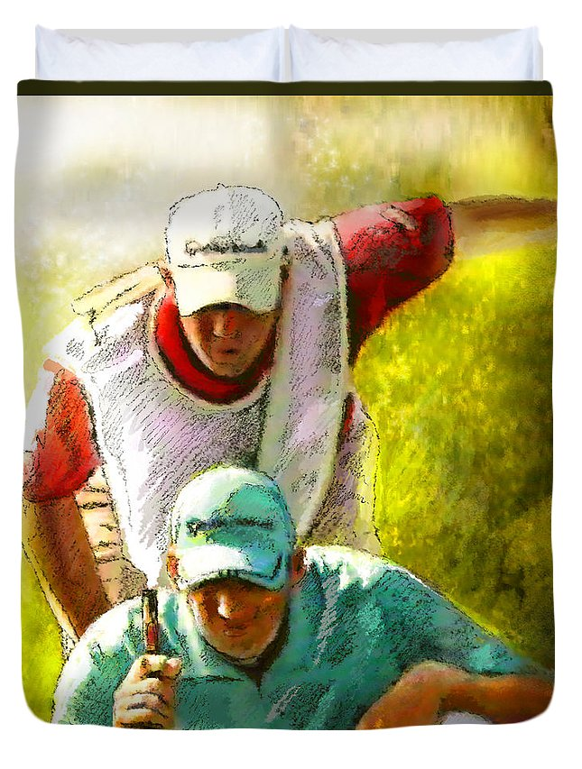 Sport Duvet Cover featuring the painting Sergio Garcia In The Madrid Masters by Miki De Goodaboom