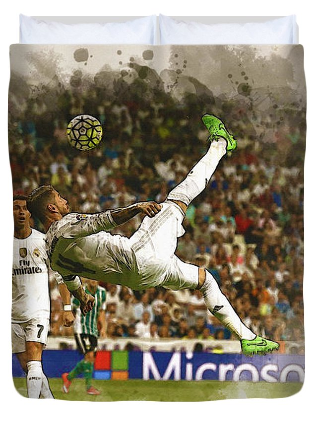 Uefa Chamipons League Duvet Cover featuring the digital art Sergio Ramos Tries To Score A Goal by Don Kuing