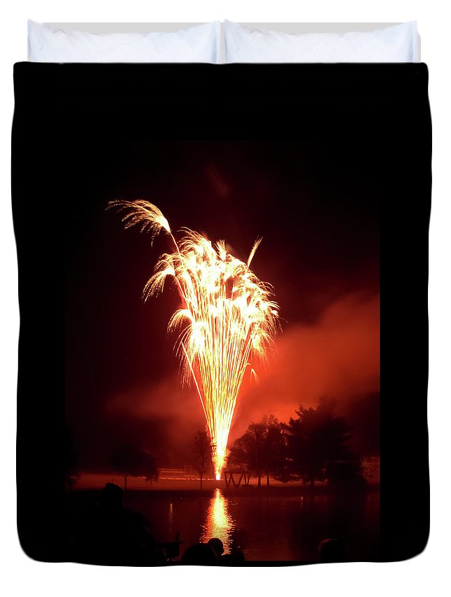 Series Of Fireworks 2 Duvet Cover featuring the photograph Series Of Fireworks 2 by Cynthia Woods