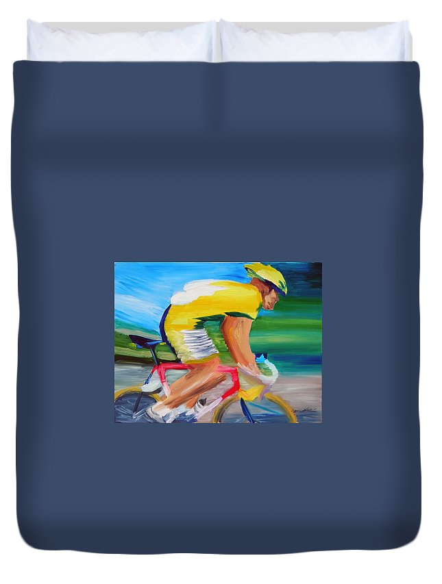 Cycling Duvet Cover featuring the painting Serinity by Michael Lee