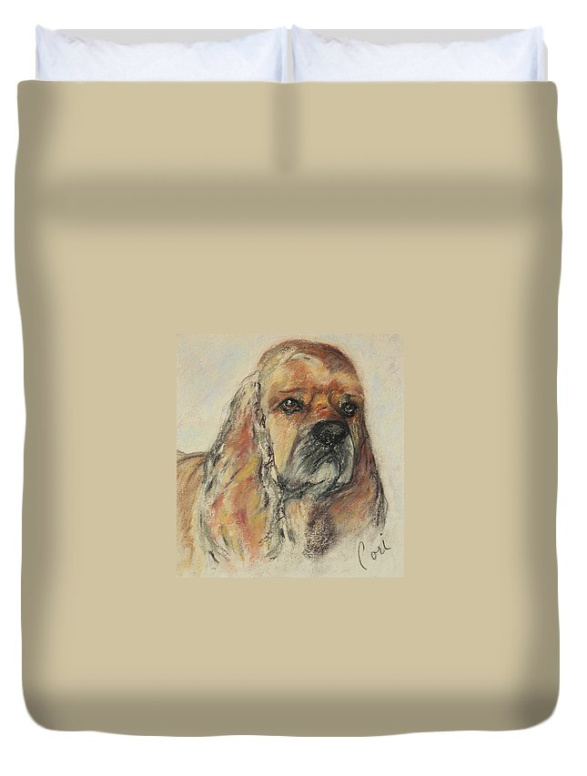 Dog Duvet Cover featuring the drawing Serious Intent by Cori Solomon