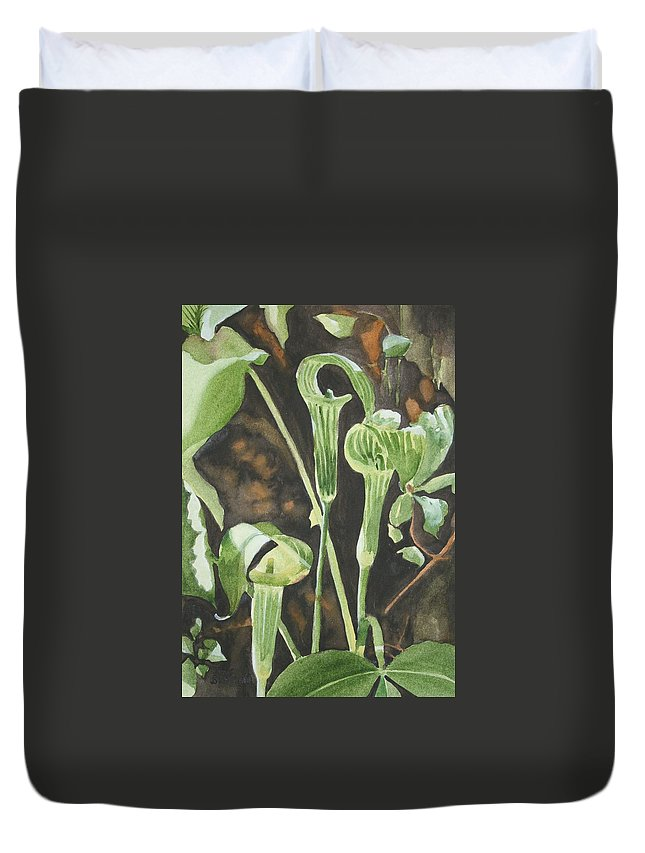 Woods Duvet Cover featuring the painting Sermon In The Woods by Jean Blackmer