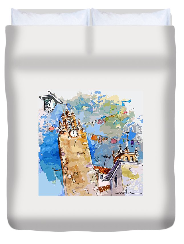 Painting Of Serpa Alentajo Portugal Travel Sketch Duvet Cover featuring the painting Serpa Portugal 08 Bis by Miki De Goodaboom