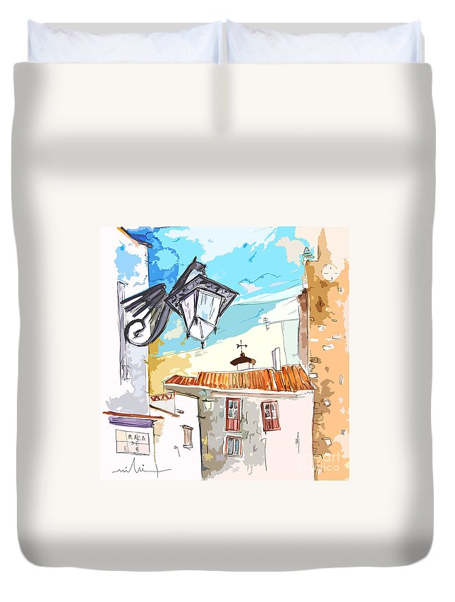 Painting Of Serpa Alentajo Portugal Travel Sketch Duvet Cover featuring the painting Serpa Portugal 09 Bis by Miki De Goodaboom