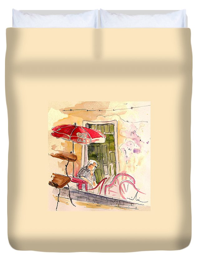 Portugal Paintings Duvet Cover featuring the painting Serpa Portugal 23 by Miki De Goodaboom