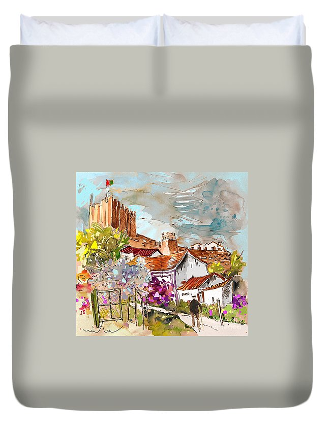 Water Colour Painting Serpa Portugal Duvet Cover featuring the painting Serpa Portugal 26 by Miki De Goodaboom