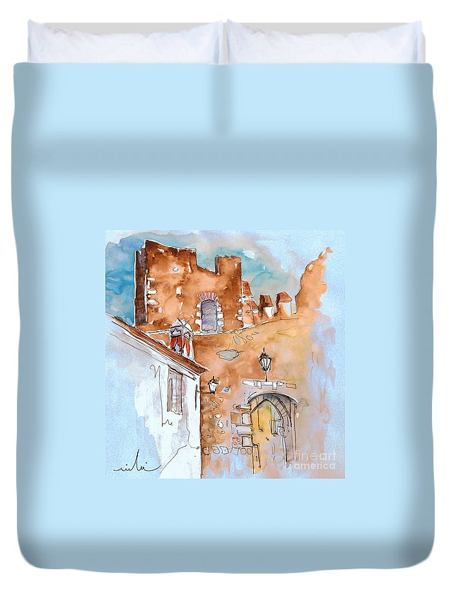 Water Colour Painting Serpa Portugal Duvet Cover featuring the painting Serpa Portugal 29 by Miki De Goodaboom