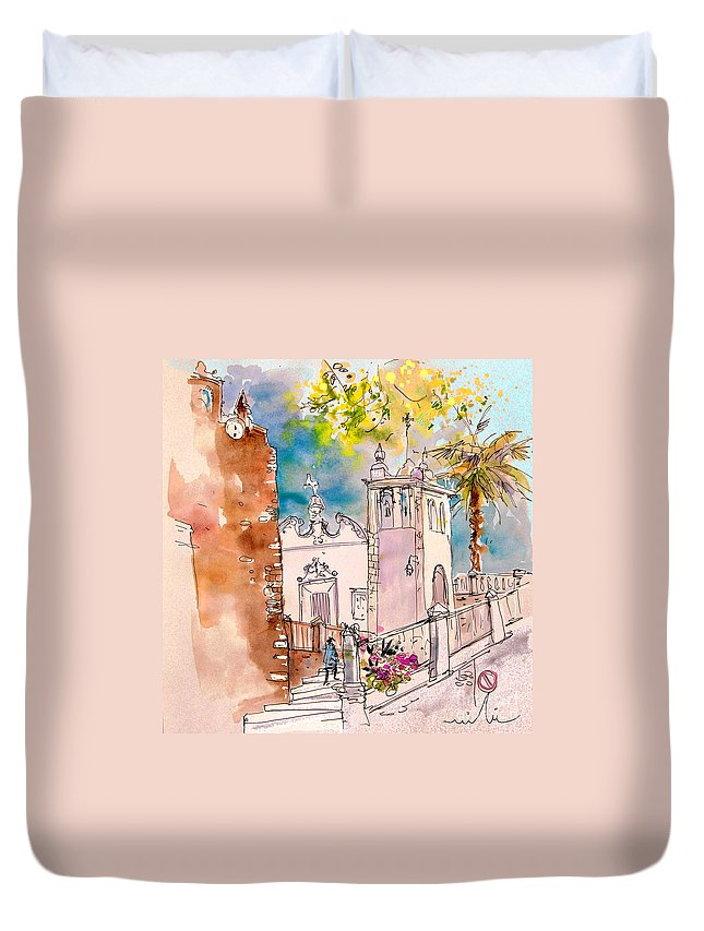 Water Colour Painting Serpa Portugal Duvet Cover featuring the painting Serpa Portugal 31 by Miki De Goodaboom