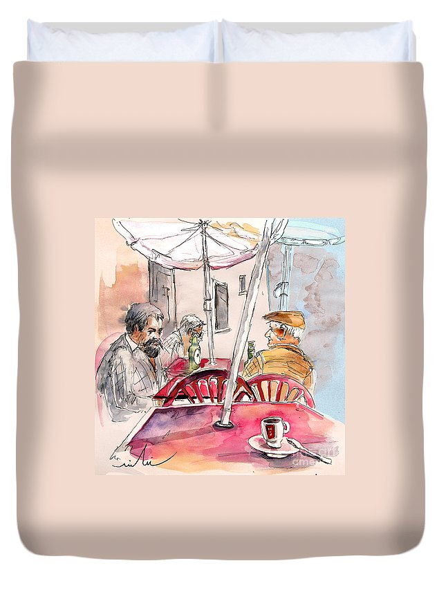 Water Colour Aquarelle Drawings Caricatures From People In Serpa Portugal By Miki Duvet Cover featuring the painting Serpa Portugal 32 by Miki De Goodaboom
