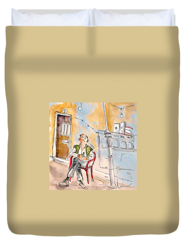 Water Colour Aquarelle Drawings Caricatures From People In Serpa Portugal By Miki Duvet Cover featuring the painting Serpa Portugal 33 by Miki De Goodaboom